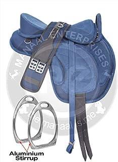 Deen, Enterprises 合成无树 FREEMAX 英式马鞍带手柄、围脖、皮革肩带、铝搅拌、尼龙绳索吊杆、尺寸 17 英寸(约 43.2 厘米)座椅