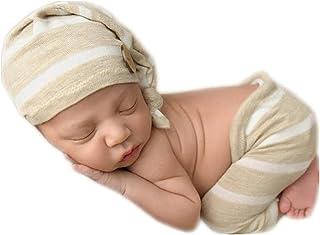 新生儿 摄影道具 男孩女孩服装 手工针织帽 带紧身衣裤 照片道具