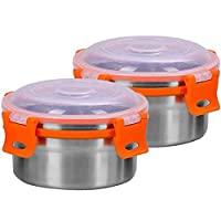 Khandekar 2件裝不銹鋼食品保鮮盒帶防漏蓋,環保可重復使用兒童圓形午餐盒,外出容器 - 8盎司(250毫升)/每個