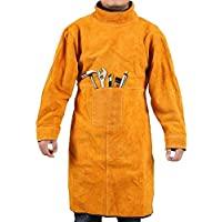 焊接夹克 皮革 焊接 围裙 耐热 耐燃 重型工作围裙 防烫处理 防火 焊工外套 超大