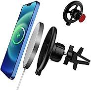 2 件 Magsafe 車載支架,儀表板支架圓形和通風磁性支架充電器外殼,360° 手機支架墊兼容iPhone 12/12 Mini/12 Pro/12 Pro Max(黑色)