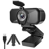 Aoozi *網絡攝像頭,全高清 1080P 網絡攝像頭,帶隱私蓋和三腳架,USB 3.0 網絡攝像頭,帶麥克風,視頻攝像頭用于通話會議,120 度寬屏網絡攝像頭