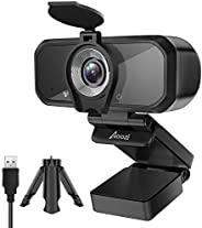 Aoozi *网络摄像头,全高清 1080P 网络摄像头,带隐私盖和三脚架,USB 3.0 网络摄像头,带麦克风,视频摄像头用于通话会议,120 度宽屏网络摄像头