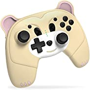Mytrix Switch 控制器,适用于 Nintendo Switch 的无线开关控制器,带唤醒功能,适用于 Nintendo Switch/Lite 的可爱Switch Pro 控制器,带耳机插孔,涡轮,运动振动功