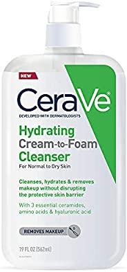 CeraVe 保湿泡沫洁面乳 | 透明质酸卸妆洗面奶| Pinkoi,无香料 | 19盎司,562毫升