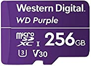 WD microSD 内存卡 SC QD312 256GB(用于监控摄像机的microSD,读取速度100MB/s,写入速度65MB/ s,至高768TBW,速度10级,UHS速度1 U1),紫色