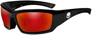 Harley-Davidson 男式骷髅头垫太阳镜,红色镜面镜片 HATAT13