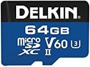 Delkin 64GB microSDXC 1900X UHS-I/UHS-II (U3/V60) 存储卡 (DMSD190064GV) DMSD190064GV 64GB
