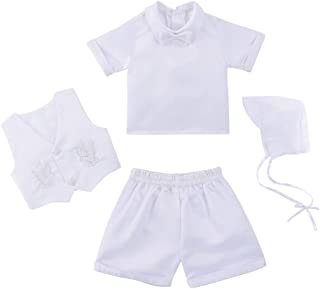 estamico 男婴缎面洗礼服装婴幼儿背心套装长袖