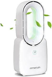 INMORVEN 卧室书桌风扇 无叶片风扇 小型台式风扇 安静电池供电 可充电冷却 便携式风扇 带 4 档速度 5 色装饰 LED 灯 适用于家庭休息室办公室,11.8 英寸