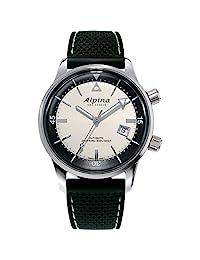 "Alpina 男士""Seastrong 潜水员传奇""自动不锈钢和皮革休闲手表,颜色:黑色(型号:AL-525S4H6)"
