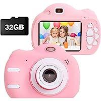MEIWU 女童兒童相機,2000 萬像素 1080P 高清兒童運動相機便攜式可充電幼兒視頻錄像機,適合 3-12 歲女孩男孩的理想玩具