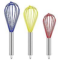 Ouddy 3 只装硅胶搅拌器、气球打蛋器、奶蛋打磨器、鸡蛋打蛋器搅拌器 - 厨房用具用于搅拌、打蛋、打蛋、搅拌、红色、黄色、蓝色 3 种颜色 DDD-015-1