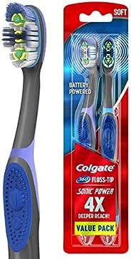Colgate 360 Total Advanced Floss-Tip Sonic 电动牙刷,带舌头和脸颊清洁器,柔软 - 2 只装