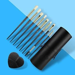 CJP Beauty 眼部彩妆刷 10 件 - 经过认证的素食友好型且无刺激性 - 软合成毛,带木质手柄 - *适合液体、粉末、奶油和凝胶*