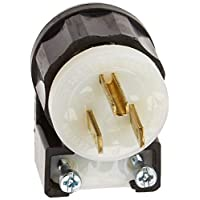 Leviton 5266-CA 15Amp 125V 角插头直刀片工业级接地塞,黑色和白色 黑色 1包 268-05266-CA,需配变压器