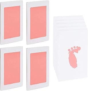 婴儿手印和脚印套装,4 个粉色印泥,10 张印记卡(14 件)