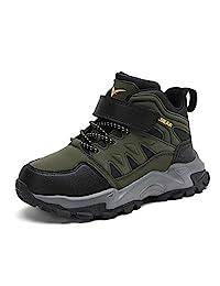 kulebear 儿童徒步鞋防滑靴男孩女孩冬靴户外保暖鞋防水