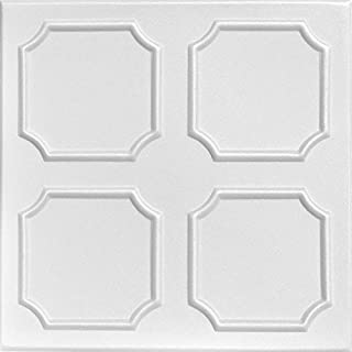 A La Maison 天花板 R01 Bostonian 泡沫胶粘天花板瓷砖(128 平方英尺/箱),48 件装,纯白色
