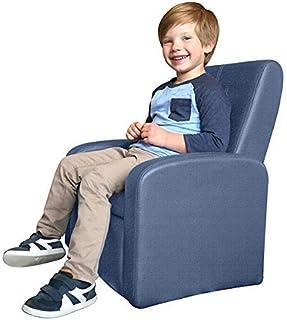 STASH 折叠儿童沙发椅内置存储现代儿童高脚立方体客厅娱乐室躺椅 舒适家居坐姿玩耍家具 男孩扶手椅 蓝色