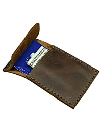 隱藏和飲料,皮革極簡主義卡片夾帶翻蓋,可容納 3 張卡片,前口袋錢包,時尚整理包,手工制作包括 101 年質保:波本本棕色