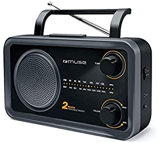 Muse M-06 DS 厨房收音机 (FM, MW) 收音机 电源和电池供电 AUX 输入用于手机,耳机插孔,伸缩天线,黑色