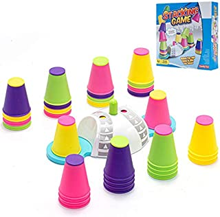 32 件快速堆叠杯游戏套装 - 堆叠杯速度训练游戏4 色互动棋盘游戏家庭游戏儿童礼物适合训练专注力*发展男孩和女孩