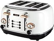 TOWER Bottega T20017W 4片烤面包机,不锈钢,带有可调节的褐变控制,取消,除霜和加热设置,可移动碎屑托盘,1630 W,白色和玫瑰金