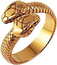 HZMAN 哥特式珠宝复古双蛇头环时尚动物个性不锈钢戒指
