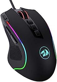 Redragon M612 Predator RGB 游戏鼠标,8000 DPI 有线光学游戏鼠标,带 11 个可编程按钮和5 种背光模式,软件支持 DIY 键绑定快速火按钮
