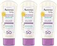 Aveeno 艾惟诺 婴儿持续保护氧化锌矿物防晒霜,SPF 50,3液体盎司/88毫升(3件)