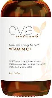 Eva Naturals 维生素 C 精华液 + 2% 视黄醇,3.5% 烟酰胺,5% 透明质酸,2% 水杨酸,10% MSM,20% 维生素 C - 皮肤清洁精华 - *皮肤修复,面部精华(2 盎司)
