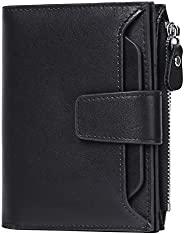 FALAN MULE 男式錢包柔軟真皮 RFID 屏蔽雙折時尚拉鏈零錢口袋錢包,帶 4 個證件窗口 黑色