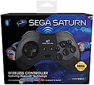 Retro-Bit 官方 SEGA Saturn 无线蓝牙控制器,适用于 PC、Switch、Mac、Steam、RetroPie Raspberry Pi - 黑色