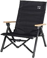 [Captain Stag] 户外椅 椅子 低椅 低矮风格舒适椅 3档斜度调节功能 带收纳包 背面附有口袋 黑色 CS黑色标签 UC-1831