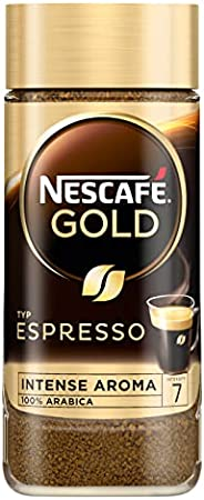 NESCAFÉ 黄金型浓缩咖啡,高品质速溶咖啡,含 100% 精致的阿拉比卡咖啡豆,含咖啡因,天鹅绒般的奶油,1 包(1 x 100g)
