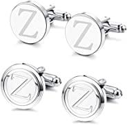 Besteel 2 对男士经典首字母袖扣 26 个字母合金袖扣 Bussiness 婚礼衬衫燕尾服钉 A-Z