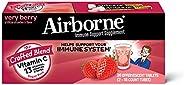 Airborne 浆果泡腾片(一盒36粒),维生素C 1000毫克(每份),无麸质,机体抵抗能力支持补品,含维生素A C E,ZINC,硒,紫锥菊和姜