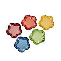 Le Creuset 酷彩 花型样式餐具 盘子 LC(S)彩虹色 耐热耐冷 可用微波炉 5件