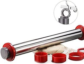 可调节擀面杖,45.72 厘米不锈钢擀面杖,带可拆卸厚环面杖,可悬挂不粘,适用于饼干、面包、披萨