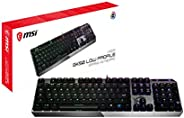 MSI 微星 Gaming Gear 背光 RGB LED Kailh 低剖面機械開關 防重影 104 鍵拉絲鋁游戲鍵盤(Vigor GK50 Low Profile US)