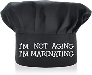 AGMdesign 趣味厨师帽, I'm Not Aging I'm Marinating 可调节厨房烹饪帽男女黑色,母亲节/父亲节/生日礼物送给他、她、妈妈、爸爸、朋友