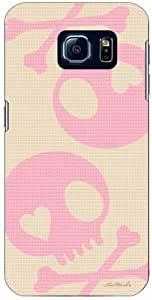 Coverfull 骷髅头 米色×粉色 design by ARTWORK / for Galaxy S6 SC-05G/docomo DSC05G-ABWH-151-M791
