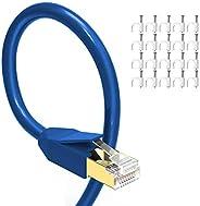 以太网电缆 50 英尺(约 15.2 米), GLANICS CAT 8 互联网电缆,带 RJ45 连接器,户外和室内,适用于网络交换机、路由器、游戏、调制解调器、网络适配器、PS5、PS4、PC、笔记本电脑、台式机(蓝