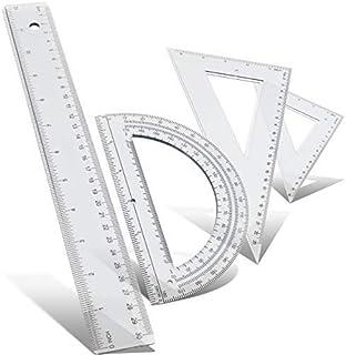 Emraw 数学几何套装耐用轻质几何工具三角量角器塑料尺专业绘图组合套装适用于学校家庭和办公室(2 件装)