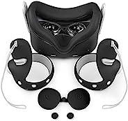 VR 硅胶保护套套装适用于 Oculus Quest 2 耳机,硅胶防渗漏 VR 面罩和 VR 外壳前脸保护盖和防护镜头盖和防抛手柄保护