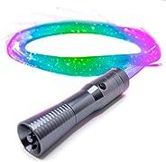 GloFX [闪发光纤维] 空间鞭 Remix - 可编程 LED 光纤鞭,6 英尺 360° 旋转 - 超亮发光狂欢玩具 EDM Pixel Flow 蕾丝舞蹈节