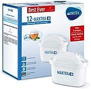 BRITA 碧然德 MAXTRA+ 滤水壶滤芯 与BRITA水壶兼容 有助于减少水垢和氯,白色,12个装 (新老包装更替)