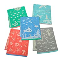 Kosugizen(Kosugizen) 面巾 5种图案 34×80cm 提花面巾 马蕾5条装