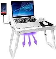 TeqHome 床上笔记本电脑桌,带风扇的可调节笔记本电脑床桌,4 个 USB 端口,可折叠腿的便携式膝上桌,笔记本电脑支架适用于带LED灯的沙发床托盘,存储,鼠标垫 - 白色